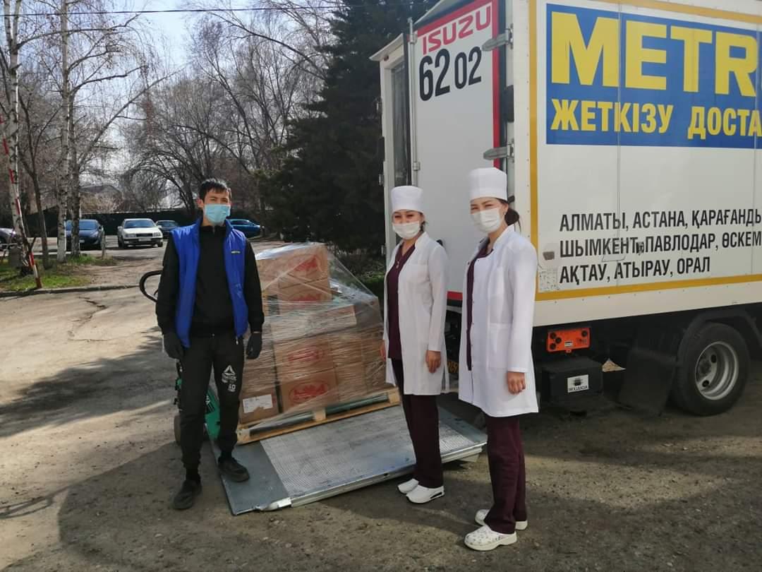 """Большая благодарность ОФ «Амила» и движению «Я алматинец"""" за помощь – продукты питания и средства гигиены для врачей, работающих в условиях карантина!"""